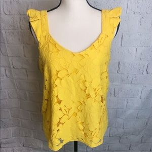 Monteau Yellow Lace Top
